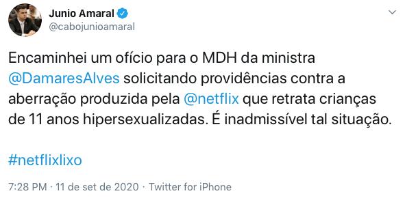 Deputado demonstra revolta após lançamento do filme da Netflix.