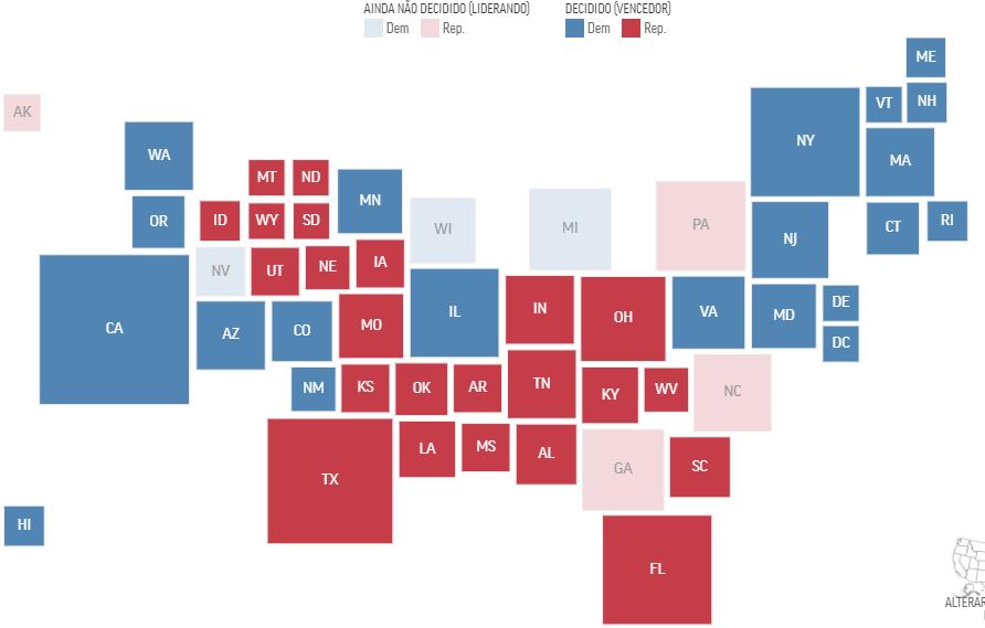 Mapa dos estados já fechados (em azul escuro e vermelho escuro) e ainda abertos, em vermelho claro e azul claro (REPRODUÇÃO)