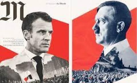 A investigação foi aberta em um outdoor gigante Macron-Hitler comparando a política da Covid ao regime nazista