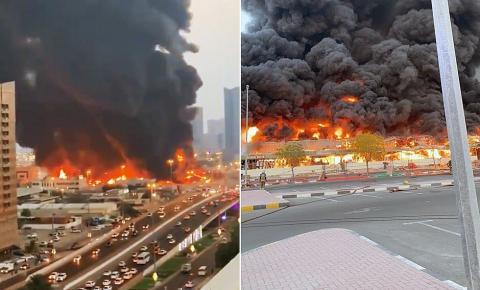 Incêndio de grande proporção atinge mercado nos Emirados Árabes Unidos